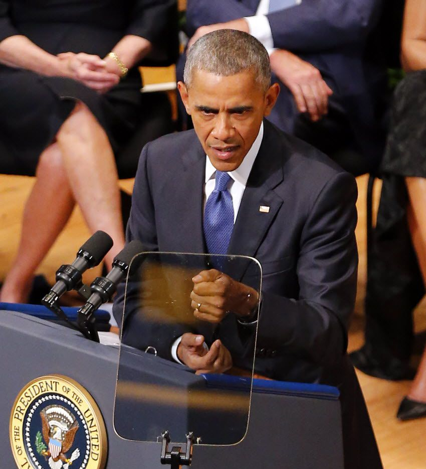 President Barack Obama addressed the interfaith memorial service for five fallen officers at the Morton H. Meyerson Symphony Center in Dallas on Tuesday.