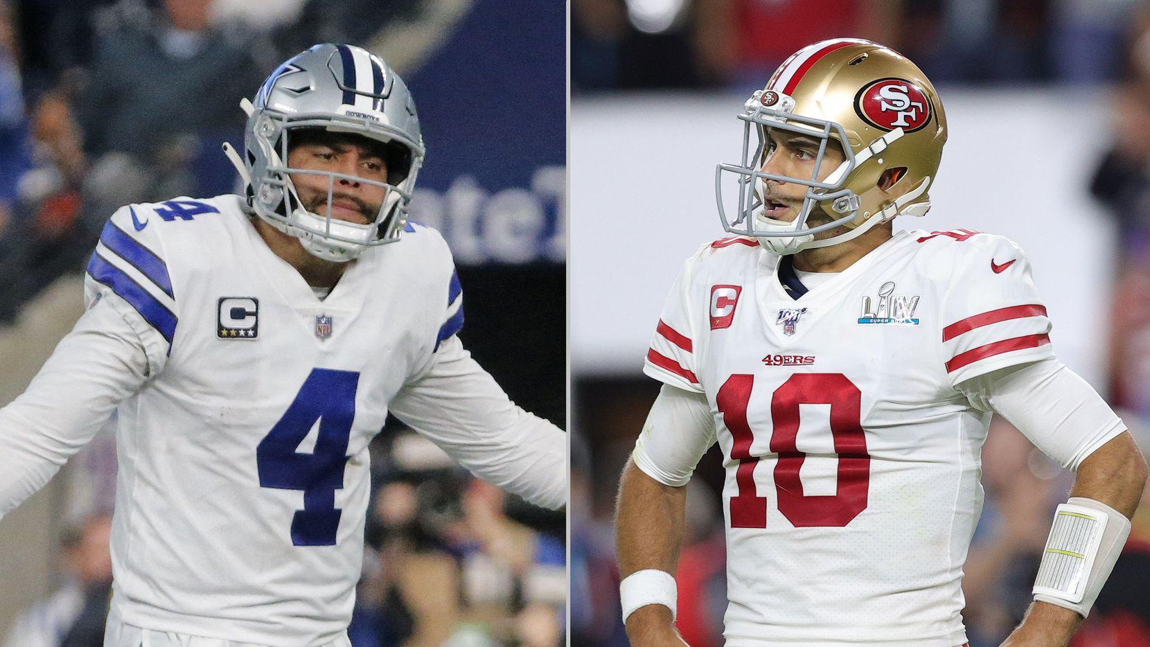 L to R: Dallas Cowboys quarterback Dak Prescott (Louis DeLuca/The Dallas Morning News), San Francisco 49ers quarterback Jimmy Garoppolo