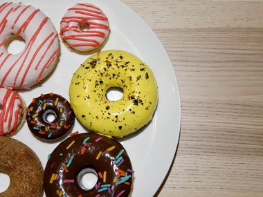 Assortment of donuts from Sinless Donuts in Fort Worth (Brian Elledge/The Dallas Morning News)