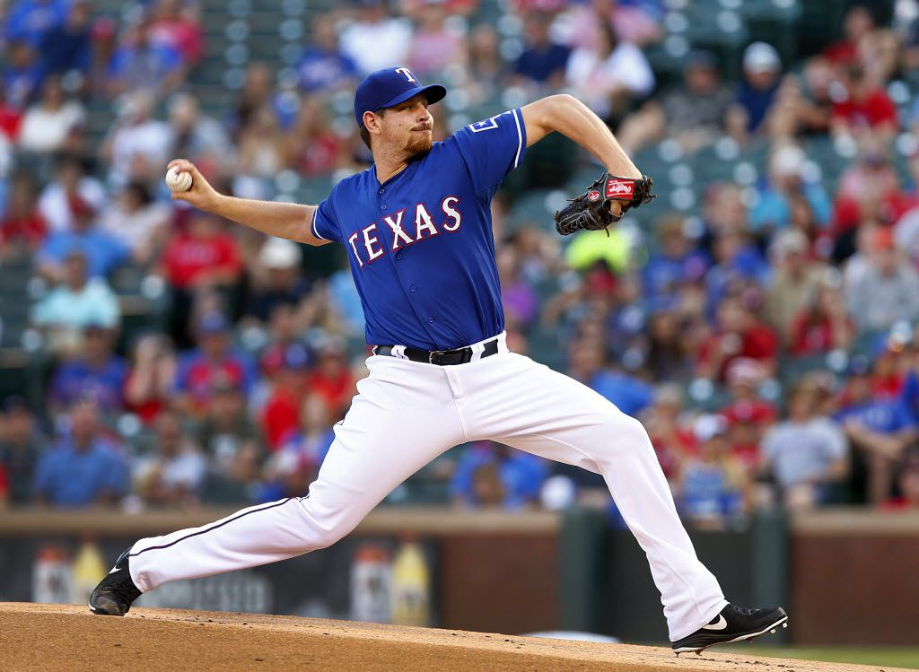 Texas Rangers starting pitcher Nick Tepesch (23) throws in the first frame against the the Tampa Bay Rays at Globe Life Park in Arlington, Tuesday, August 12, 2014. (Tom Fox/The Dallas Morning News)