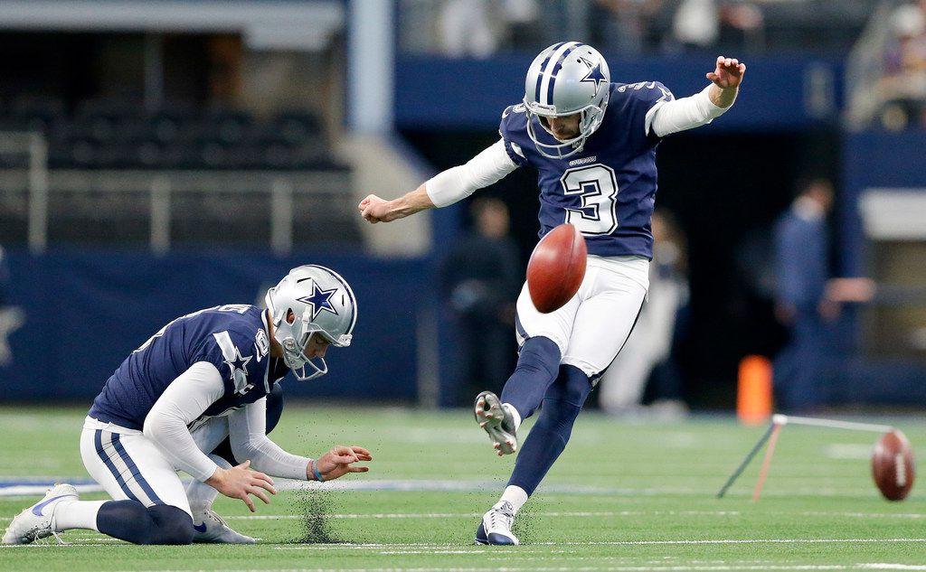 Dallas Cowboys kicker Kai Forbath (3) practices his kicks during pregame warmups at AT&T Stadium in Arlington, Texas, Sunday, December 15, 2019. The Cowboys are facing the Los Angeles Rams. (Tom Fox/The Dallas Morning News)