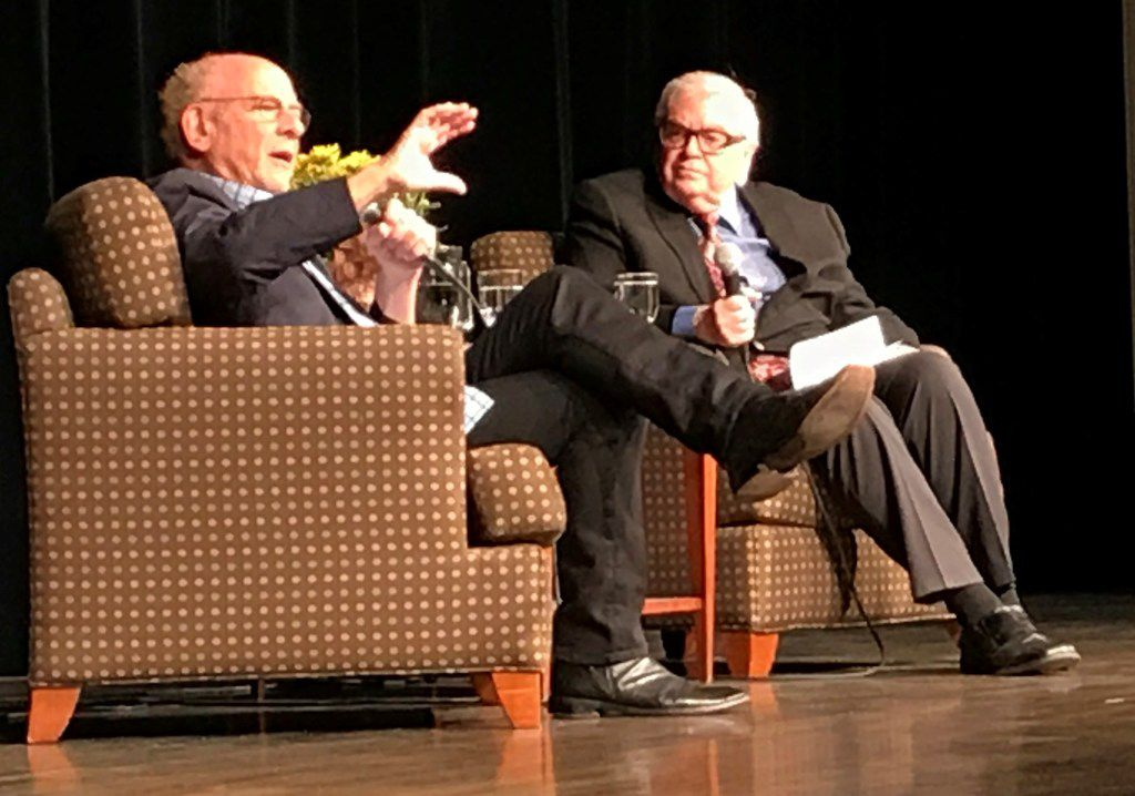 Art Garfunkel (left) is interviewed by Michael Granberry  as part of Authors Live at Highland Park United Methodist Church.