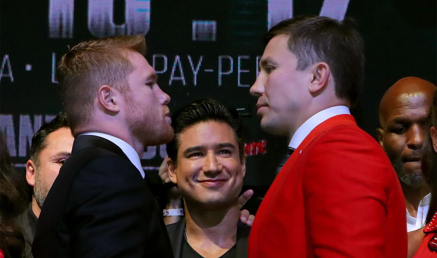Dos reyes del nocáut se enfrentan el sábado en Vegas: Saúl Álvarez (izq.) y Gennady Golovkin.(GOLDEN BOY PROMOTIONS)