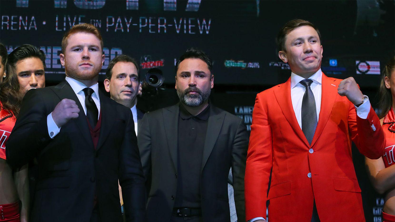 Saúl Álvarez y Gennady Golovkin se enfrentan el 16 de septiembre en Las Vegas. La bolsa a repartirse será desigual para los boxeadores. Foto GOLDEN BOY PROMOTIONS.