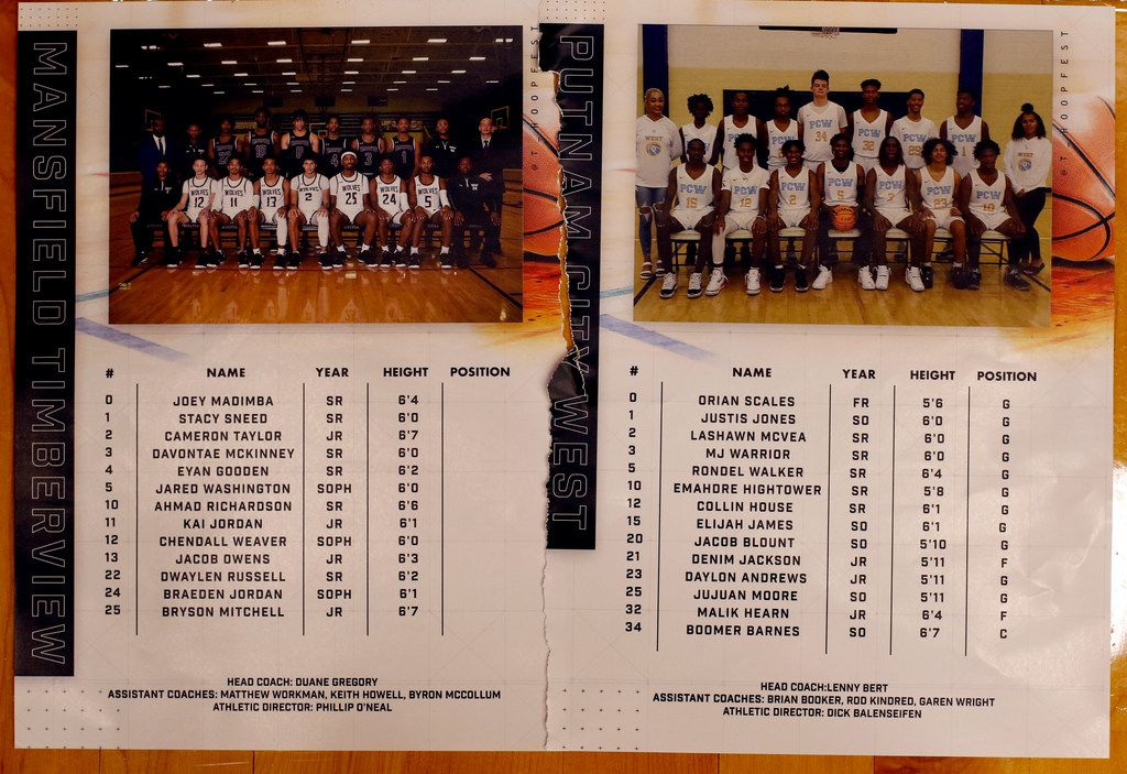 Game rosters for Mansfield Timberview versus Putnam City West, Oklahoma. The two teams competed as part of the annual Thanksgiving Hoopfest basketball tournament held at the Sandra Meadows Arena on the campus of Duncanville High School in Duncanville on November 29, 2019. (Steve Hamm/ Special Contributor)