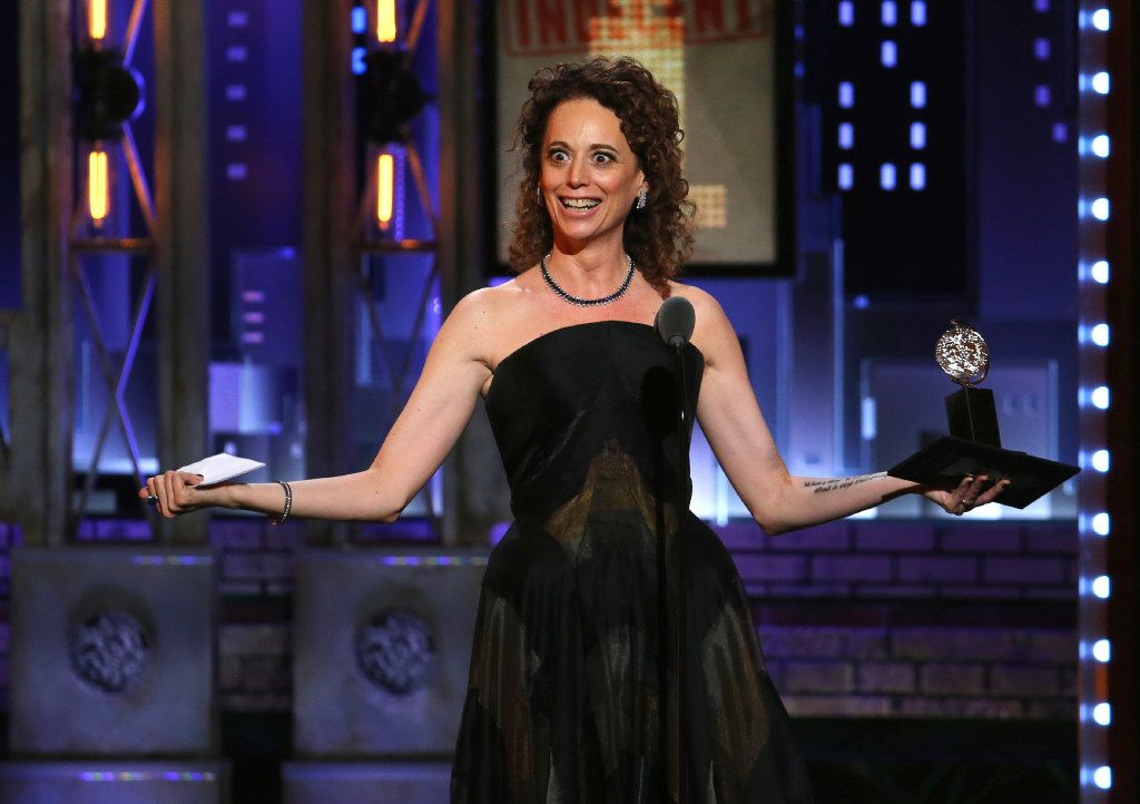 """Rebecca Taichman accepts the award for best direction of a play for """"Indecent"""" at the 71st annual Tony Awards on Sunday, June 11, 2017, in New York. (Photo by Michael Zorn/Invision/AP)"""