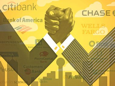 Nearly 500 Texas banks are vying for ground in the pro-business state which is attracting record numbers of people and businesses.  (Illustration by artist Michael Hogue)