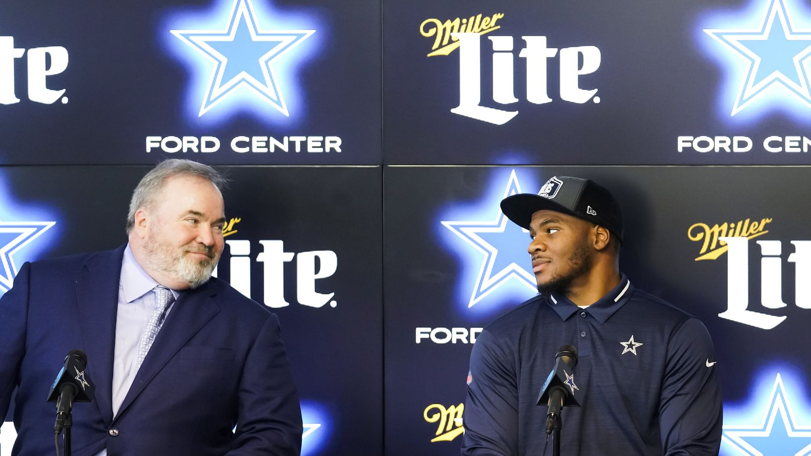 Dallas Cowboys first-round draft pick Micah Parsons (right) looks to head coach Mike McCarthy as they sit down for a press conference introducing the linebacker from Penn State at The Star on Friday, April 30, 2021, in Frisco.