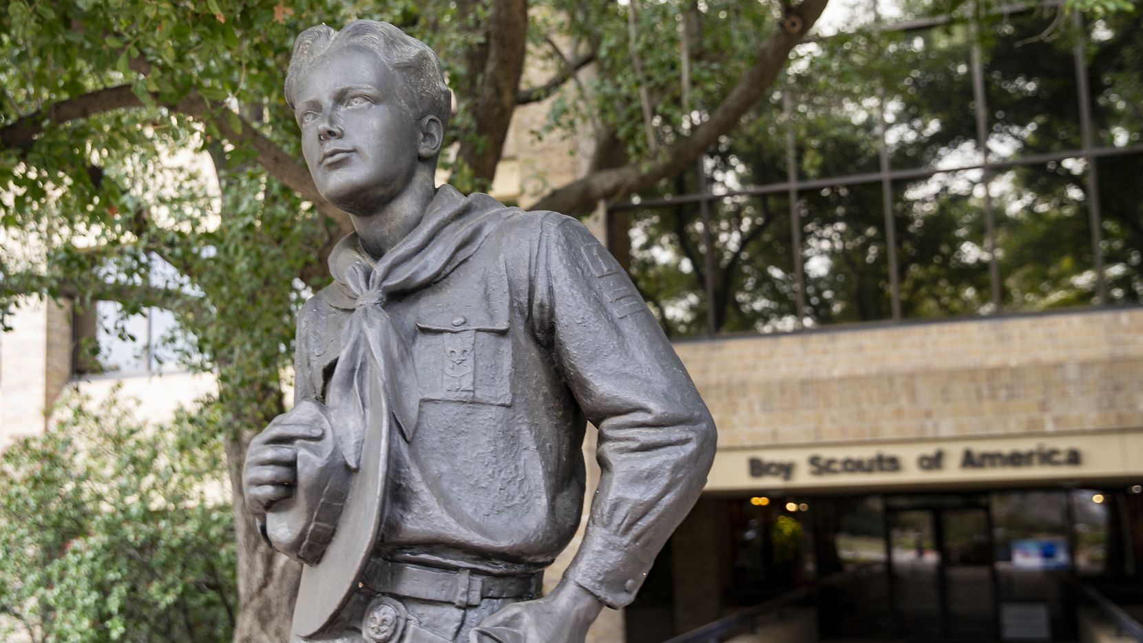 The Boy Scout statue outside of the Boy Scouts of America headquarters in Irving.