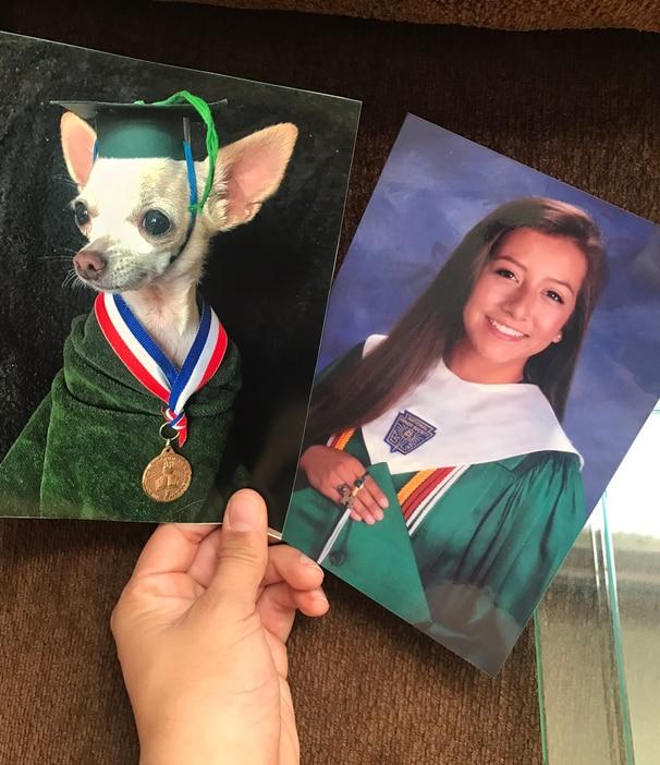 Hooper's latest prank involved her own graduation photo.