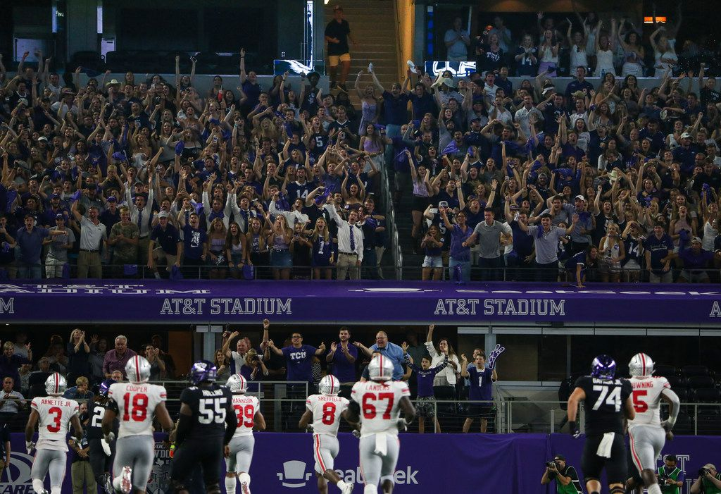 Fans celebrate TCU running back Darius Anderson (6) makes a break for a touchdown during the AdvoCare Showdown between the Ohio State Buckeyes and the Texas Christian University Horned Frogs on Saturday, Sept. 15, 2018 at AT&T Stadium in Arlington, Texas. (Ryan Michalesko/The Dallas Morning News)