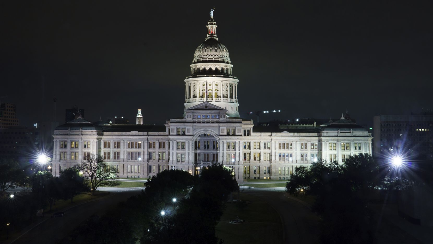 Nighttime view of the Texas State Capitol building on Thursday, Jan. 30, 2020.