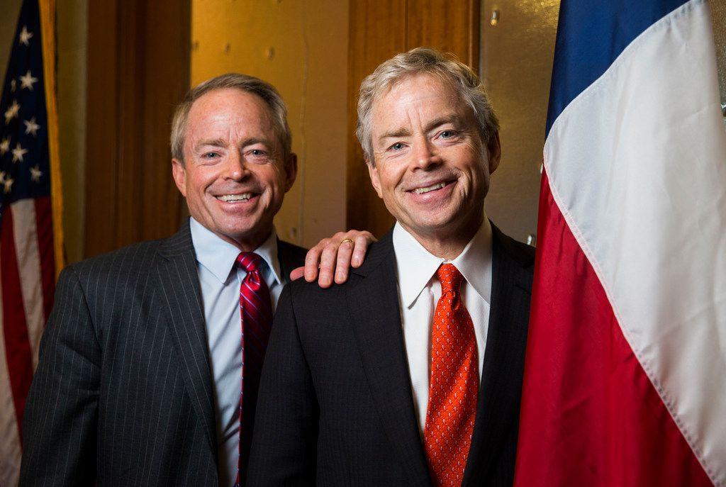 Texas Senator Don Huffines, right, and his twin brother, Phillip Huffines, were part of a roundtable discussion hosted by U.S. Sen. Rand Paul on Monday in Moscow.