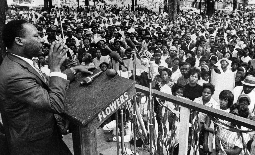 FILE - The Rev. Martin Luther King Jr. addresses a crowd of some 3,000 persons in Birmingham, Ala., on April 30, 1966. (AP Photo/JT, File)