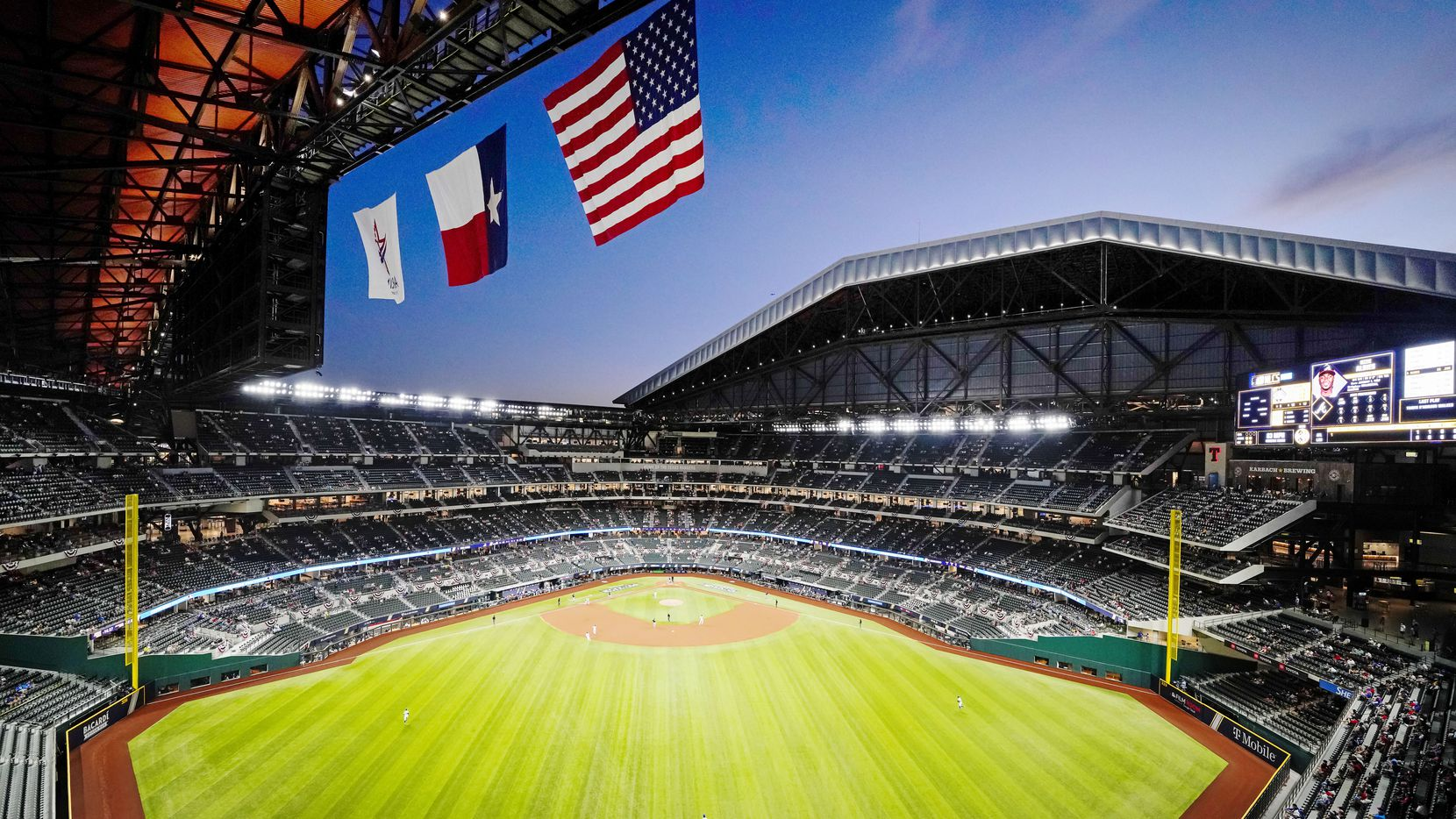 FILE — Globe Life Field is seen with the roof open on a beautiful fall night during Game 1 of the National League Championship Series on Oct. 12, 2020 in Arlington, Texas.
