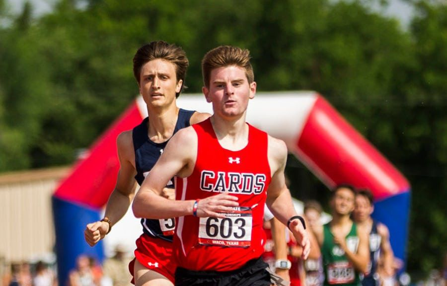 Fort Worth Christian's Carter Cheeseman leads the 5A boys 800-meter run during the TAPPS state track and field meet at Panther Stadium in Hewitt, Texas on Saturday, May 4, 2019. Cheeseman won in 1:57.81.