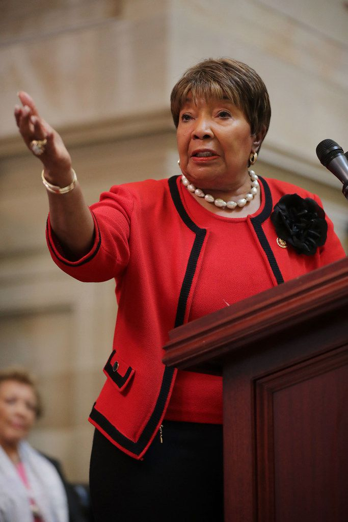 """U.S. Rep. Eddie Bernice Johnson, D-Dallas, spoke at a 2019 event in Statuary Hall at the U.S. Capitol honoring NASA's """"Hidden Figures,"""" African-American female mathematicians who helped the U.S. space program."""