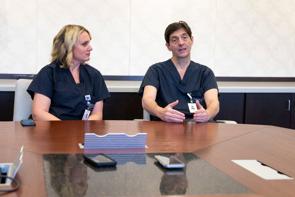 Dr. Liza Johannesson listens as Dr. Giuliano Testa explains the uterus transplant procedure.