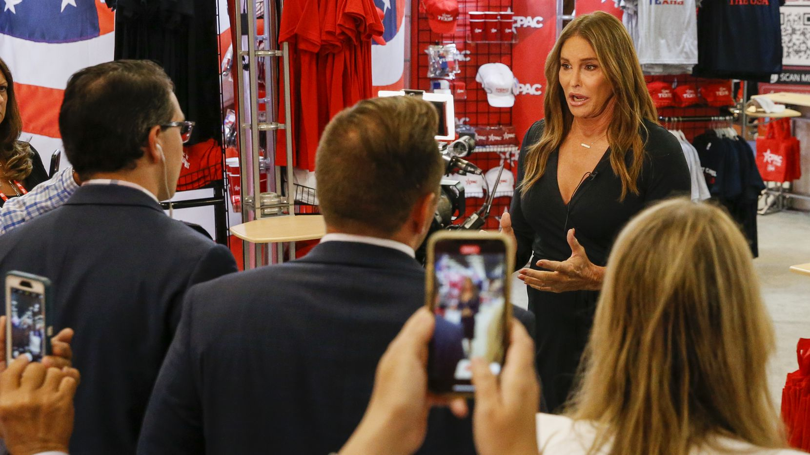 Caitlyn Jenner speaks during an interview at the Conservative Political Action Conference on Saturday, July 10, 2021, in Dallas. (Elias Valverde II/The Dallas Morning News)