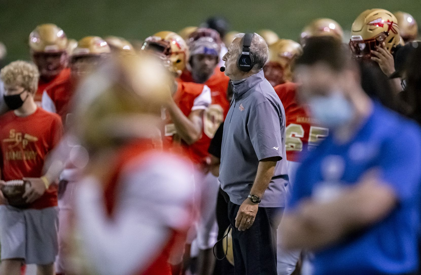 South Grand Prairie head coach Brent Whitson looks on from the sidelines, during the first half of a high school football game against Mesquite at the Gopher-Warrior Bowl in Grand Prairie, Thursday, October 1, 2020. (Brandon Wade/Special Contributor)