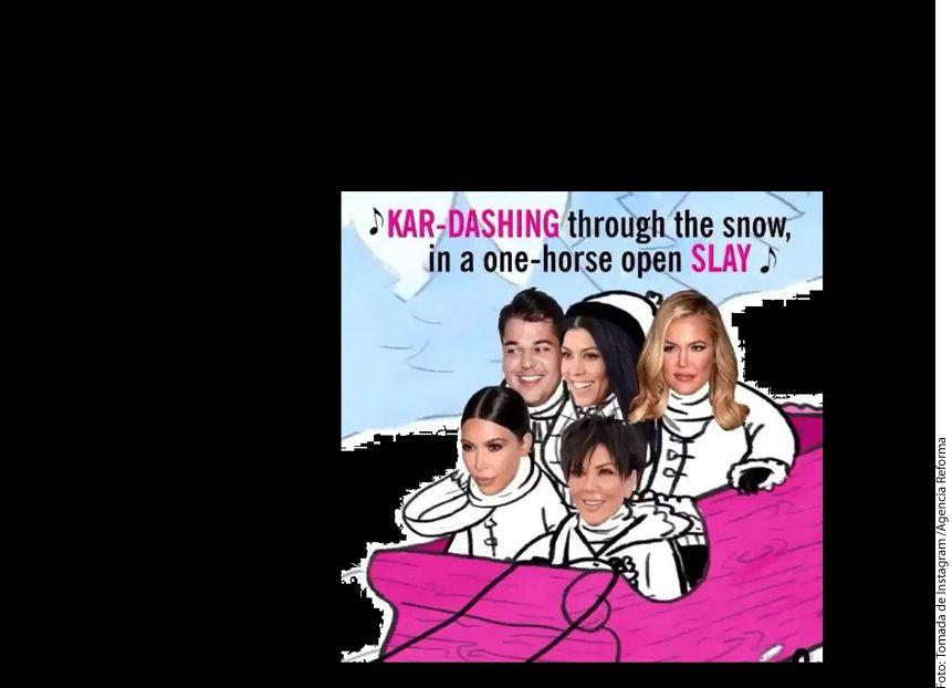 La estrella de televisión Kris Jenner compartió una imagen en la que supuestamente aparece con cuatro de sus hijos en un trineo animado./ AGENCIA REFORMA