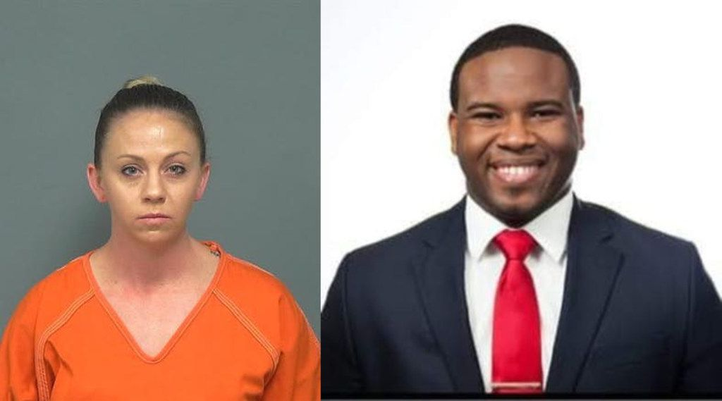 A witness in Amber Guyger's murder case has used GoFundMe to raise $30,000. Ronnie Babbs (not pictured) shot video in the moments after Guyger (left) shot and killed Botham Jean (right) on Sept. 6. Guyger said she confused his apartment for hers and thought he was a burglar.