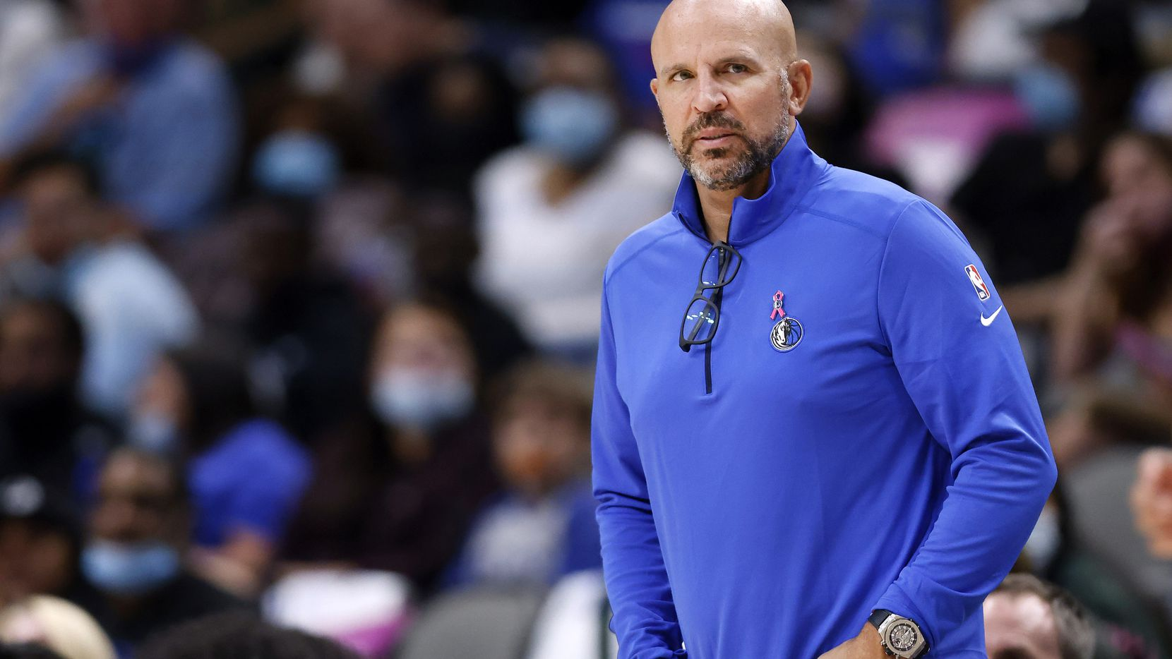 Dallas Mavericks head coach Jason Kidd watches his team face the Utah Jazz in the second half at the American Airlines Center in Dallas, Wednesday, October 6, 2021. The Mavericks defeated the Jazz, 111-101.