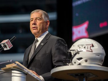 FILE - Big 12 commissioner Bob Bowlsby speaks during a Big 12 media days event at AT&T Stadium in Arlington on Monday, July 15, 2019.