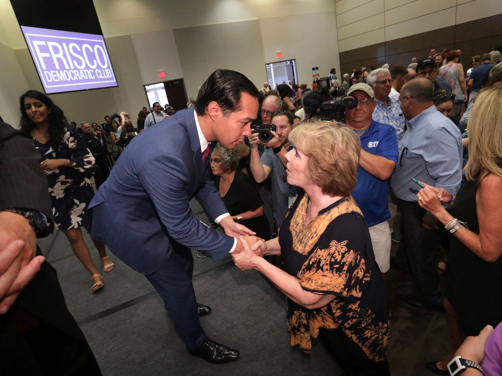 Presidential candidate Julian Castro  spoke with Jessica Moore at the Collin College Preston Ridge Campus Conference Center in Frisco on Monday during a campaign stop.