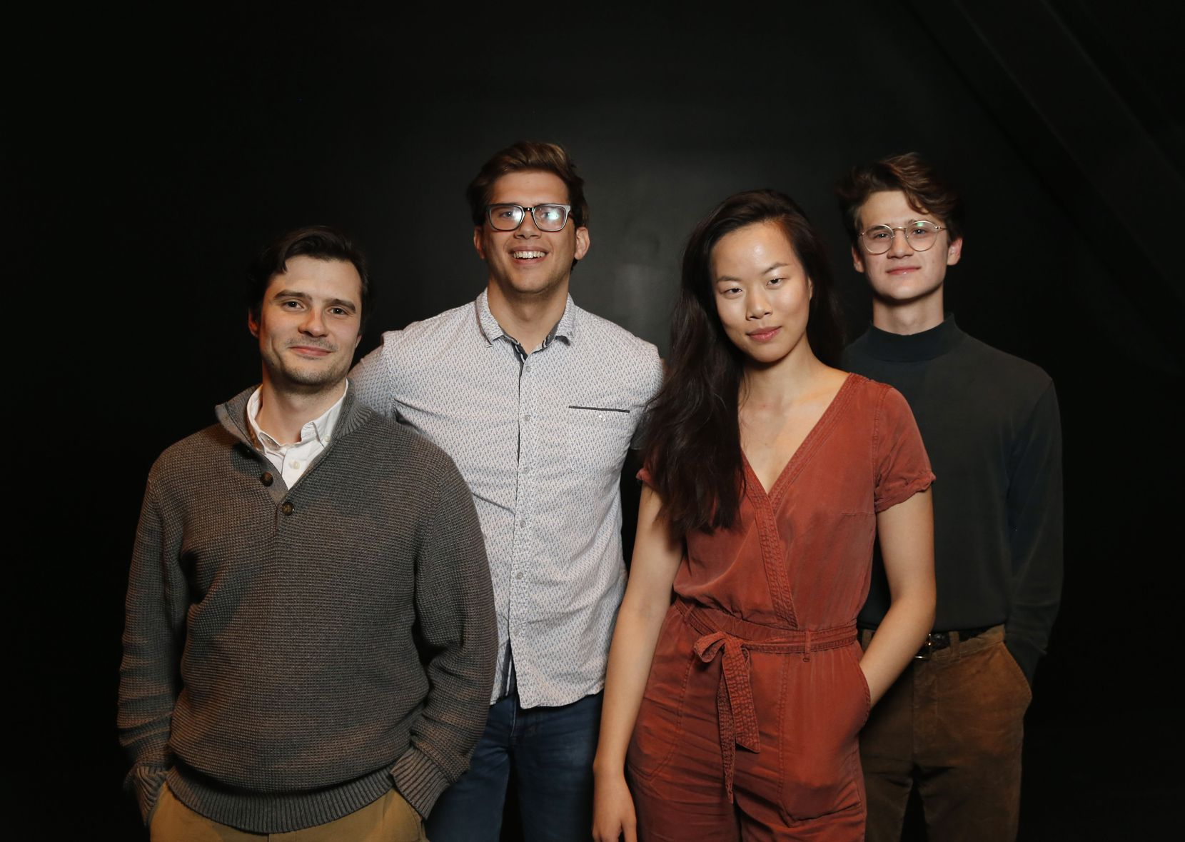 """From left: Cory Kosel, Jon Garrard, Sydney Lo and Jeremy LeBlanc, who play the younger generation in playwright Thomas Ward's """"Slide By,"""" about a former big man on campus who returns to his school as a substitute teacher the week after the Columbine shootings."""