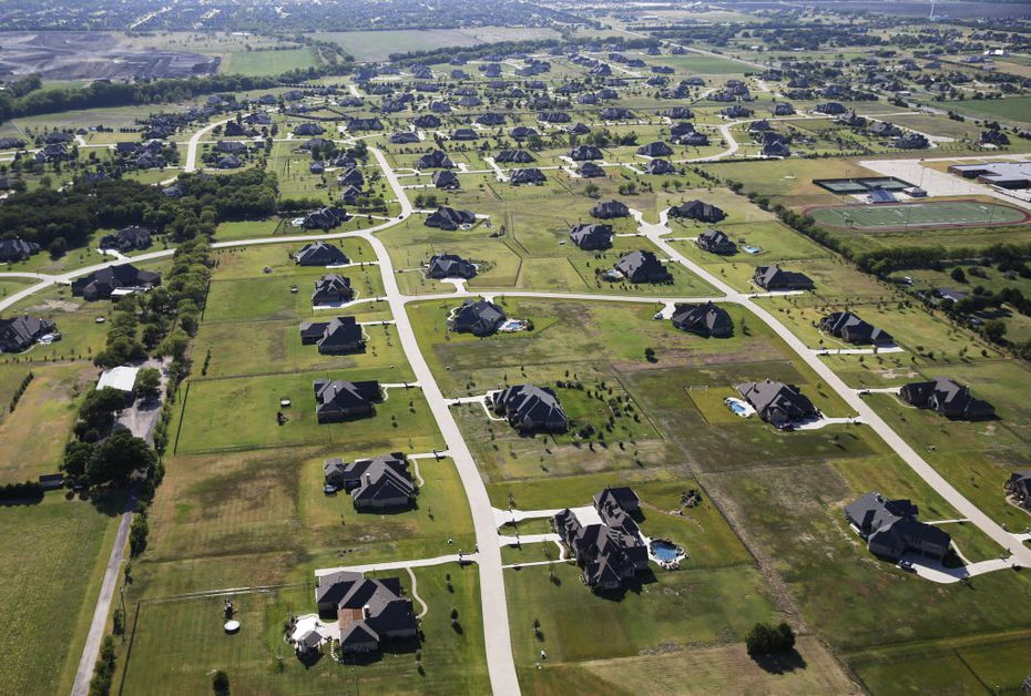 Aerial view of homes in Lucas, Texas on Thursday, August 11, 2016.