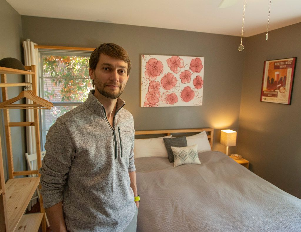 Corey Reinaker in the bedroom he and his wife rent out through AirBNB at their home in Plano, Texas on April 19, 2019. (Robert W. Hart/Special Contributor)
