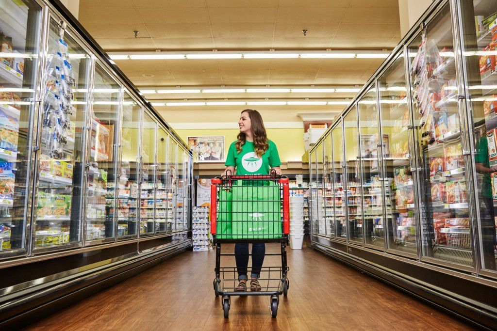 Shipt employees shop local grocery stores and deliver the orders to customers.