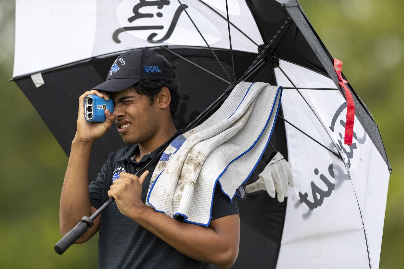 Plano WestÕs Rohan Aerrabolu studies his shot from the 5th tee box during the final round of the UIL Class 6A boys golf tournament in Georgetown, Tuesday, May 18, 2021. (Stephen Spillman/Special Contributor)