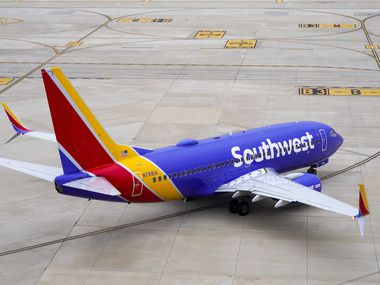 A Southwest Airlines flight taxis to the runway at Dallas Love Field on Thursday, Jan. 7, 2021, in Dallas. (Smiley N. Pool/The Dallas Morning News)