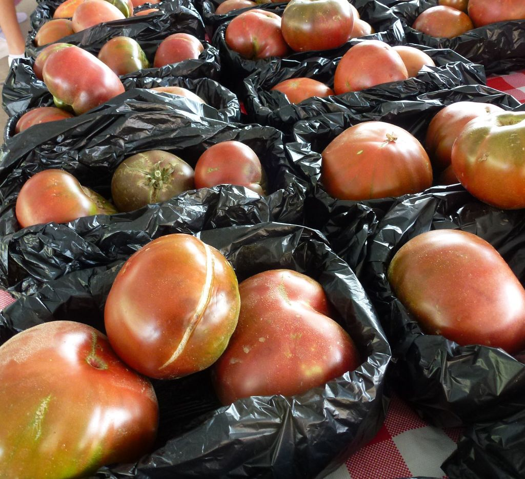 Heirloom tomatoes are among the specialty produce from Baugh Farms in Wills Point. They had plenty during a recent Sunday at the Dallas Farmers Market.