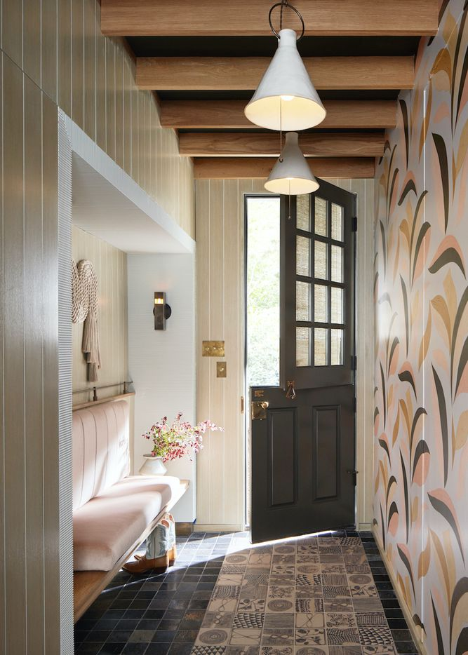 The mud room at the Kips Bay Decorator Show House Dallas. This room was design by Erin Sander Design.