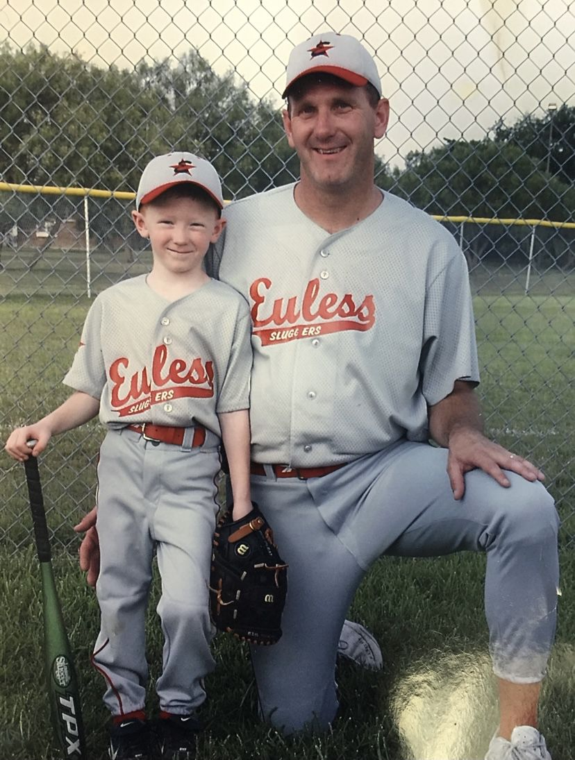 Los Angeles Dodgers pitcher Dustin May is pictured here with his father, Danny May. Dustin May grew up in the Dallas area. (Courtesy/Suzanne May)