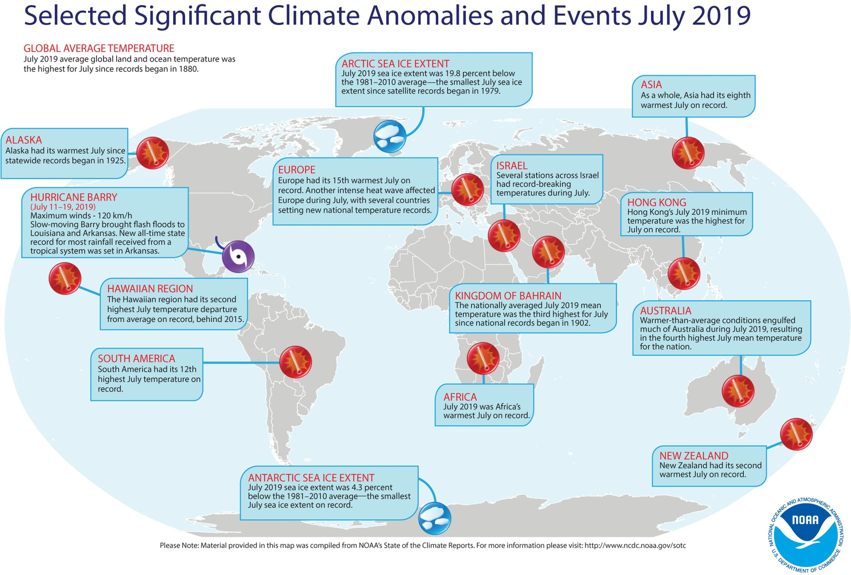 This map shows climate anomalies worldwide during July 2019.
