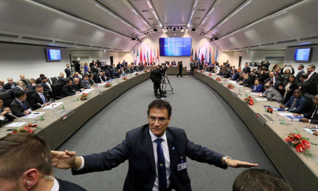 OPEC oil ministers gathered at their headquarters in Vienna at the end of November. (File Photo/The Associated Press)