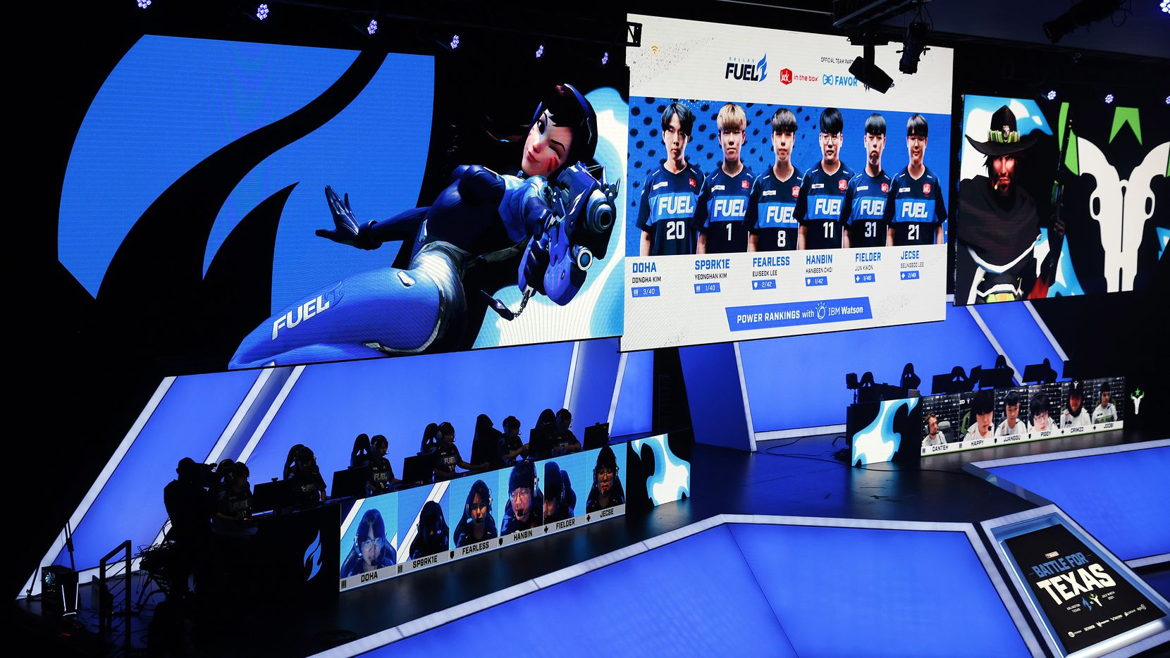 The Dallas Fuel players are introduced on the video board before their Overwatch League match against the Houston Outlaws at Esports Stadium Arlington Friday, July 9, 2021. Dallas Fuel defeated Houston in The Battle for Texas, 3-0. It was the first in-person live competition for fans in over a year. Houston competed from their hometown. (Tom Fox/The Dallas Morning News)
