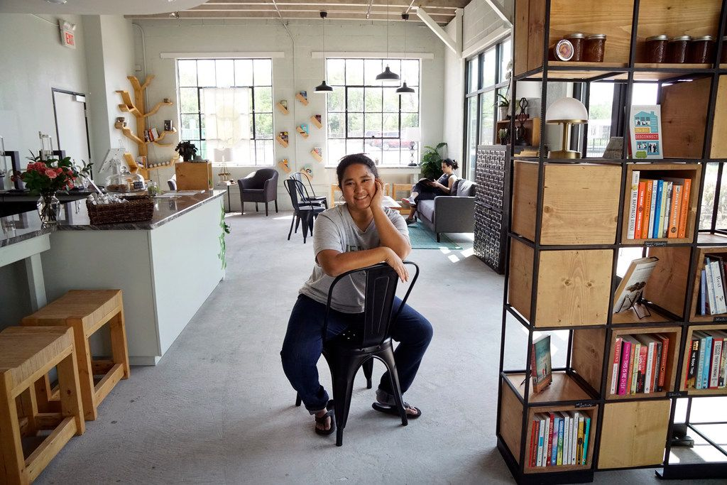 """Tina Howard at her Leaves Book and Tea Shop  in Fort Worth. """"Overall our vision is about creating a space where you can just pause and disconnect and take a breath,"""" she says."""