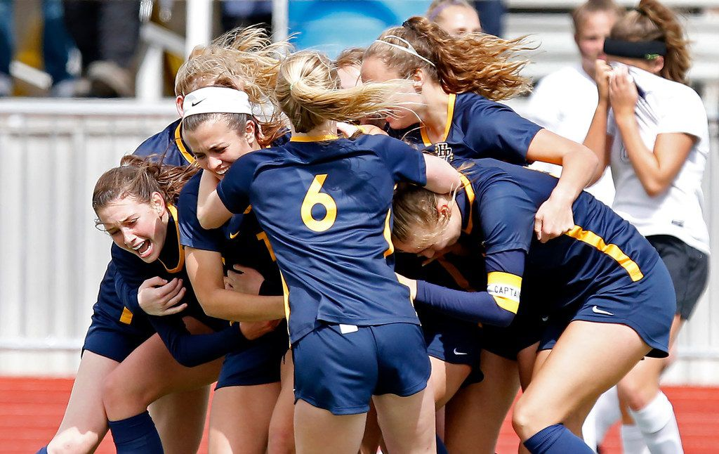 The Highland Park High School girls soccer team celebrates a 2-1 victory over Frisco Independence High School during the Class 5A Region II Championship girls soccer game played at Standridge Stadium in Carrollton on Saturday, April 13, 2019. (Stewart F. House/Special Contributor)