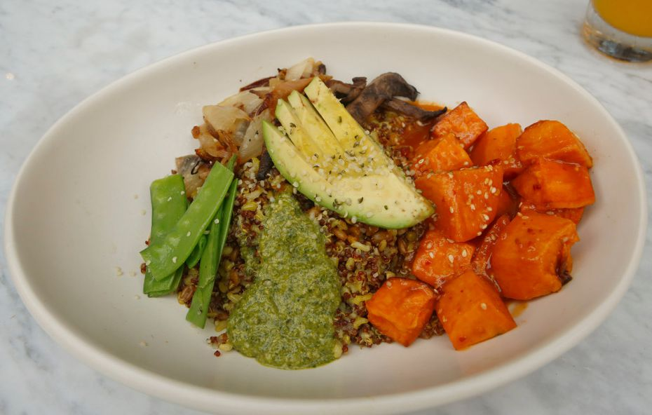 True Food Kitchen's Ancient Grains Bowl is made with miso glazed sweet potato, charred onion, snow peas, grilled portobello, avocado and hemp seed. The Plano restaurant opens Tuesday, May 23.