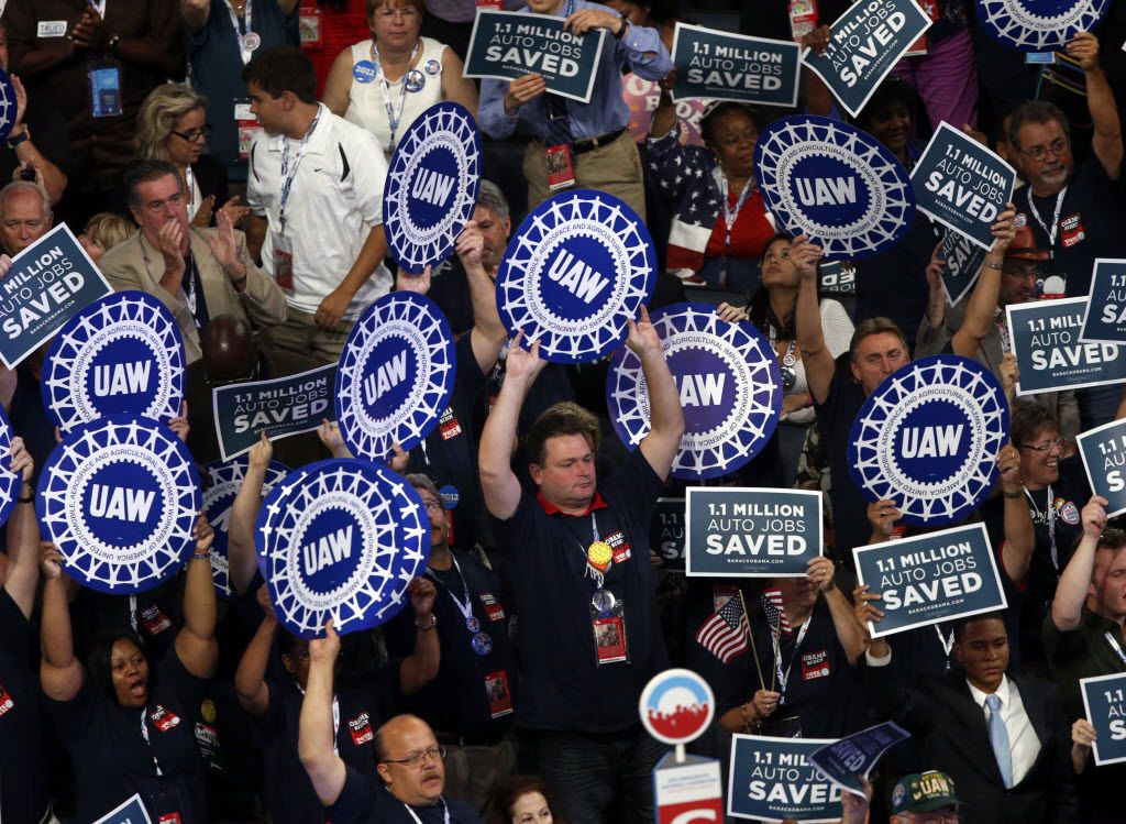Delegates show support the the UAW (United Auto Workers Union) at the 2012 Democratic National Convention, Wednesday, September 5, 2012 in Charlotte, N.C. ( Tom Fox / The Dallas Morning News )
