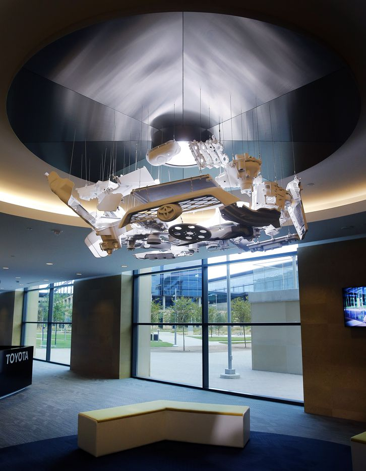 An auto parts-themed light fixture building E1 of Toyota's new North American headquarters.
