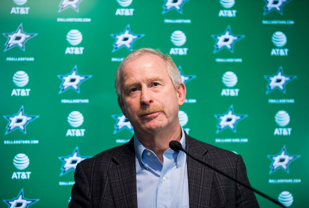 FILE - Stars general manager Jim Nill is pictured at a press conference on Friday, April 13, 2018, at Dr Pepper StarCenter in Frisco. (Ashley Landis/The Dallas Morning News)