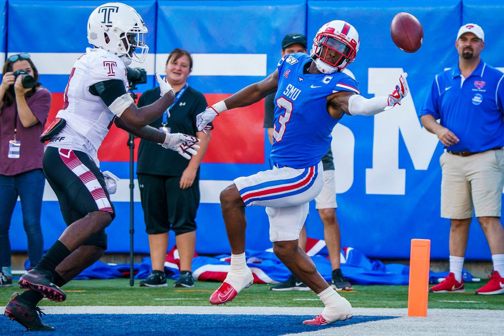 FILE - SMU wide receiver James Proche (3) can't make a catch in the end zone during the second half of a game against Temple at Gerald J. Ford Stadium on Saturday, Oct. 19, 2019, in Dallas. (Smiley N. Pool/The Dallas Morning News)
