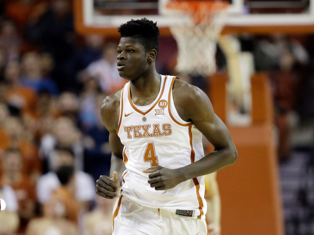Texas forward Mohamed Bamba (4) runs up court during the first half of an NCAA college basketball game, Monday, Jan. 22, 2018, in Austin, Texas. (AP Photo/Eric Gay)