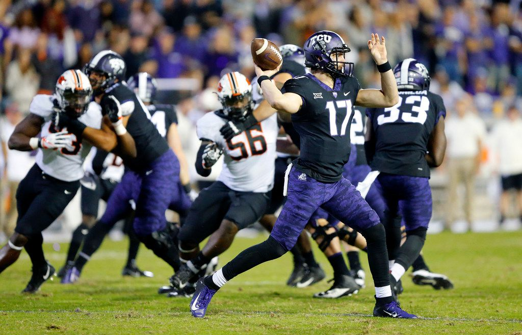 TCU Horned Frogs quarterback Grayson Muehlstein (17) throws a first quarter pass against the Oklahoma State Cowboys at Amon G. Carter Stadium in Fort Worth, Texas, Saturday, November 24, 2018. (Tom Fox/The Dallas Morning News)